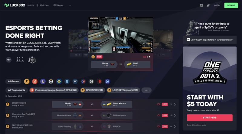 Luckbox homepage